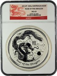 2012-p Year Of The Dragon 30 1 Kilo Silver Coin Graded Ngc Ms 69 Dragon Label
