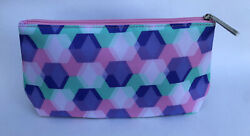 Clinique Cosmetic Bag Purple Green Pink Toiletry Travel Case Makeup $2.99