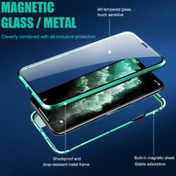 Double Glass Cover For Iphone 12 11 Pro Max Xr X 7 8+ Full Magnetic Phone Case