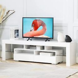 63 Tv Stand Cabinet High Gloss Led Lights Entertainment Center For 70 Inch Tv