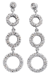 1.29ct Diamond 14k White Gold 3d Classic Circle Of Life Journey Hanging Earrings