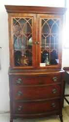 Antique Mahogany 2 Pc Breakfront Curio And Chest Of Drawers