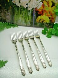 5 International Holmes And Edwards Danish Princess Silverplate Luncheon Forks