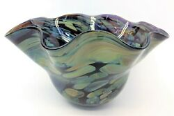 1999 Contemporary Fluted Top Signed Decorative Bowl Art Glass Blue Green
