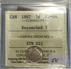 1887 Repunched 7 Canada Small Five Cents - Iccs Ms-64 - Xtn 022