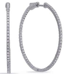 Large 1.10ct Diamond 14kt White Gold 3d Round Inside Out Hoop Hanging Earrings