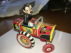 Vintage Linemar Disney Dipsy Mickey Mouse Tin Wind Up Car, Good Condition