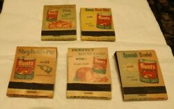 Lot Of 5 Old Hunt's Tomato Sauce Matchbooks Recipe Shepards Pie Meat Loaf Ribs