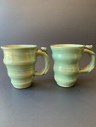 2 Studio Pottery Green Mug With Tree Frog On Handle. Signed By Lori Whittier