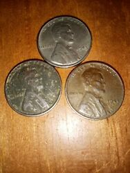 1943 Silver Steel Lincoln Wheat Pennies 1 No Mint Mark Sticks To Magnet Lot Of 3