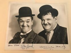 Laurel And Hardy Autographed Photo 1930s, 8 X 10, Vintage To Hello, John