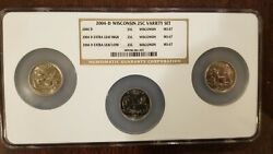 2004-d Wisconsin Ms-67 Error High And Low Extra Leaf Washington Quarters