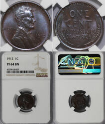 1912 1c Proof Lincoln Cent Ngc Pf 64 Bn
