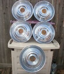 1954 - 55 Cadillac Hubcaps Set Of Five In Good Overall Condition 15 Hub Cap