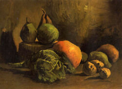 Oil Painting Vincent Van Gogh - With Vegetables And Fruit Still Life Canvas Art