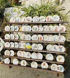 Vintage Norman Rockwell Plate Wall Set Collection 59 Plates With Wood Shelf