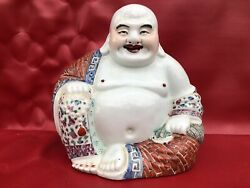 Antique Buddha Laughing Porcelain Chinese Brand Underneath Family Pink