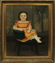 Museum Acquired Charming Antique 19th C Oil Portrait Painting Of A Young Girl