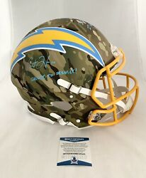 Chargers Justin Herbert Signed Multi Inscribed Authentic Camo Fs Helmet Beckett