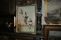 Antique Duck Painting By B.s. Brower Dated 1944