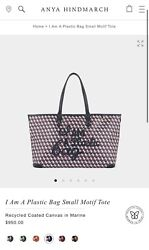 Nwt Sold Out Anya Hindmarch Sm I Am A Plastic Bag Tote Purse Card Case Marine