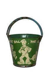 Vintage Barnacle Bill The Sailor Sand Pail/bucket With Handle 1930s Dog Girl