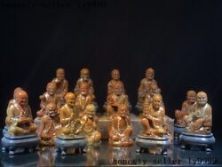 Old Chinese Shoushan Stone Carved Eighteen Arhat 18 Arhats God Buddha Statue Set