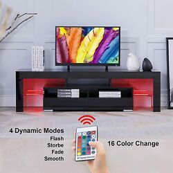 Black Tv Stand Entertainment Center W/ Led Lights High Gloss Wood For 70'' Tv Us