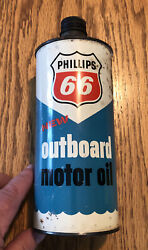 Vintage Phillips 66 Outboard Motor Oil Can 1 Quart Cone Top