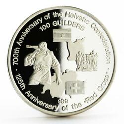 Suriname 100 Guilders 125th Anniversary Red Cross Proof Silver Coin 1991