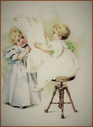 Maud Humphrey | The News Of The Day Art Print , 12 X 15 Inches W / Border