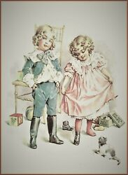 Maud Humphrey | Our Pet's Shoes Art Print , Size 12 X 15 Inches W / Border