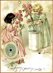 Maud Humphrey | Butterflies And Roses Art Print 12 X 15 Inches W / Border
