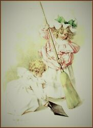 Maud Humphrey | Cleaning House Art Print , 12 X 15 Inches W / Border