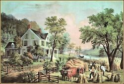 Currier And Ives   The Farmerand039s Home-harvest Art Print