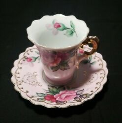 Vintage Lefton Handpainted Cup And Saucer  2 5/8 Cup Pink And Florals