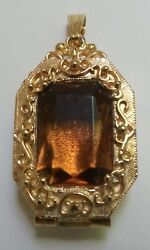 Goldette Gold Tone Locket - Topaz-colored Glass - Vintage Solid Costume Jewelry
