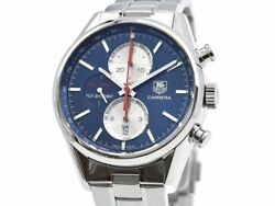 Free Shipping Pre-owned Tag Heuer Carrera Car211b.ba0724 Chronograph Blue Dial