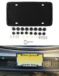 2 X Black Silicone License Plate Frame Holder With Installation Screws And Caps Ne