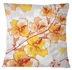 S4Sassy Floral Print Yellow Decorative Square Cushion Cover Pillow Wi1