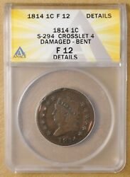 1814 Classic Head Large Cent S-294 Crosslet 4 Anacs F 12 Details
