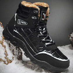 Mens Snow Boots Winter Warm Thermal Ski Fur Non Slip Lace Up Showerproof Boot