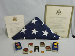 Vtg Lot Us Army Major 1930and039s-62 Wwii Medals Ssi Rank Insignia Flag Certificates