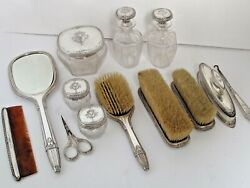 Antique13 Pc.sterling Dresser Set Fine Quality Sold By Feaganand039s And Co. L A C.1920