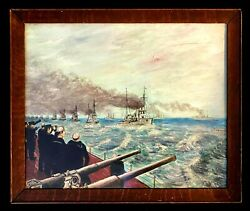 Magnificent Antique Oil Painting Sea Battle Group Created In 1930-1945