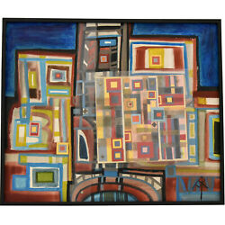 Mid Century Abstract Painting With Plexiglass Andrandeacute Pailler 1970
