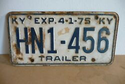 Plaque Immatriculation Usa Kentucky 1975 License Plate Old Americaine Trailer