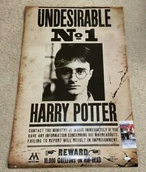 Daniel Radcliffe Signed Harry Potter Wanted Full Size Movie Poster 24x36 Jsa