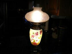 Antique . Oil Lamp. Lalique Lookin Shade Electrified Full ,top Or Bottom