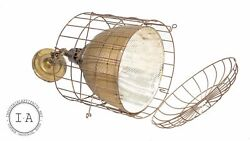 Industrial Gold Mercury Glass Caged Ceiling Lamp Pendant